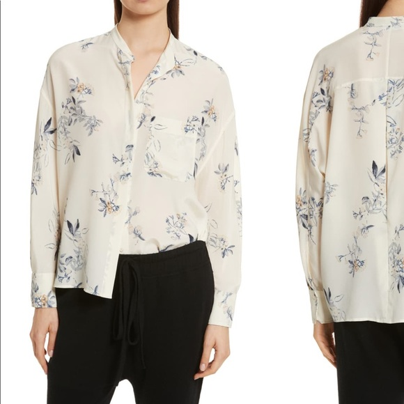 Vince Tops - Vince Floral Cream Silk Blouse